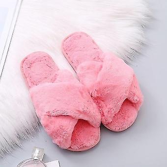 Winter Women House Slippers Faux Fur Warm Shoes Female Slides
