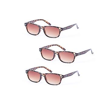 """""""The Intellect"""" 3 Pair of Unisex Reading Glasses - Microfiber Soft Pouches Included - Tortoise/Tortoise - 3.00"""