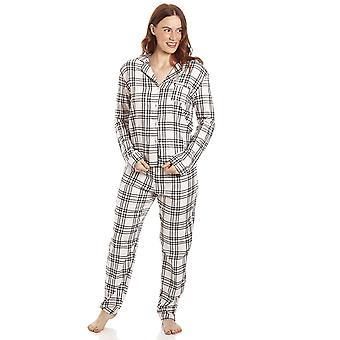 Camille Womens Cream & Black Juego de pijama de franela a puntos