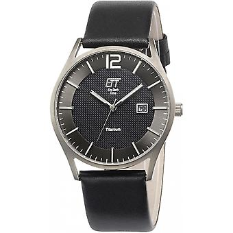 ONE (Eco Tech Time) Black Genuine Leather OJ-12056-51L Men's Watch