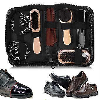 8pcs Leather Shoes Care Tool Boot Polishing Cleaning Kit avec Shoe Cream Shoe Brushes