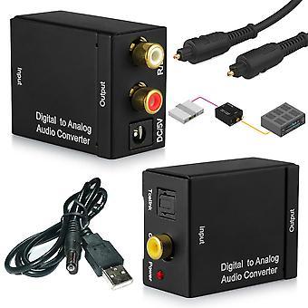 Digital optisk koaksial toslink til analog Rca Audio Converter Adapter