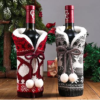2pcs Christmas Sweater Wine Bottle Cover, Xmas Party Decorations