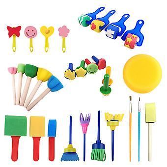 30 peças Sponge Drawing Brushes Kits Para crianças escovas de tinta de espuma definir potes de tinta