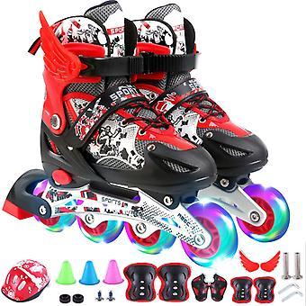 Verstelbare inline skates voor kinderen en volwassenen met volledige licht op wielen, outdoor rolschaatsen