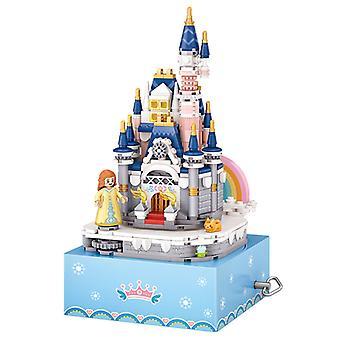 ミニ建物のプリンセス城回転オルゴールオルゴール小さな穀物建物ウッドおもちゃギフトモデルパズルおもちゃ