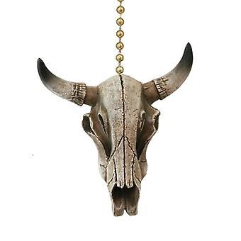 Western Steer Skull Cow Head Skeleton Resin Ceiling Fan Pull or Light Pull Chain