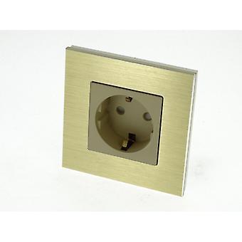 Jeg LumoS luksus guld børstet Aluminium ramme Schuko EU 16A tyske enkelt sokkel