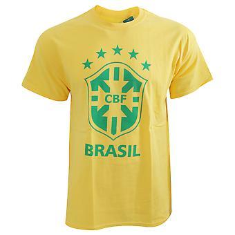 CBF Brasil Official Mens korte mouw voetbal Crest T-Shirt