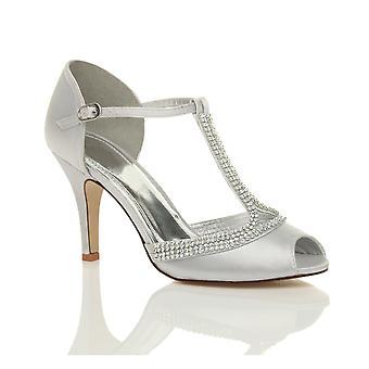 Ajvani womens salto alto peep toe diamante t-bar casamento nupcial noite de baile sandálias sapatos