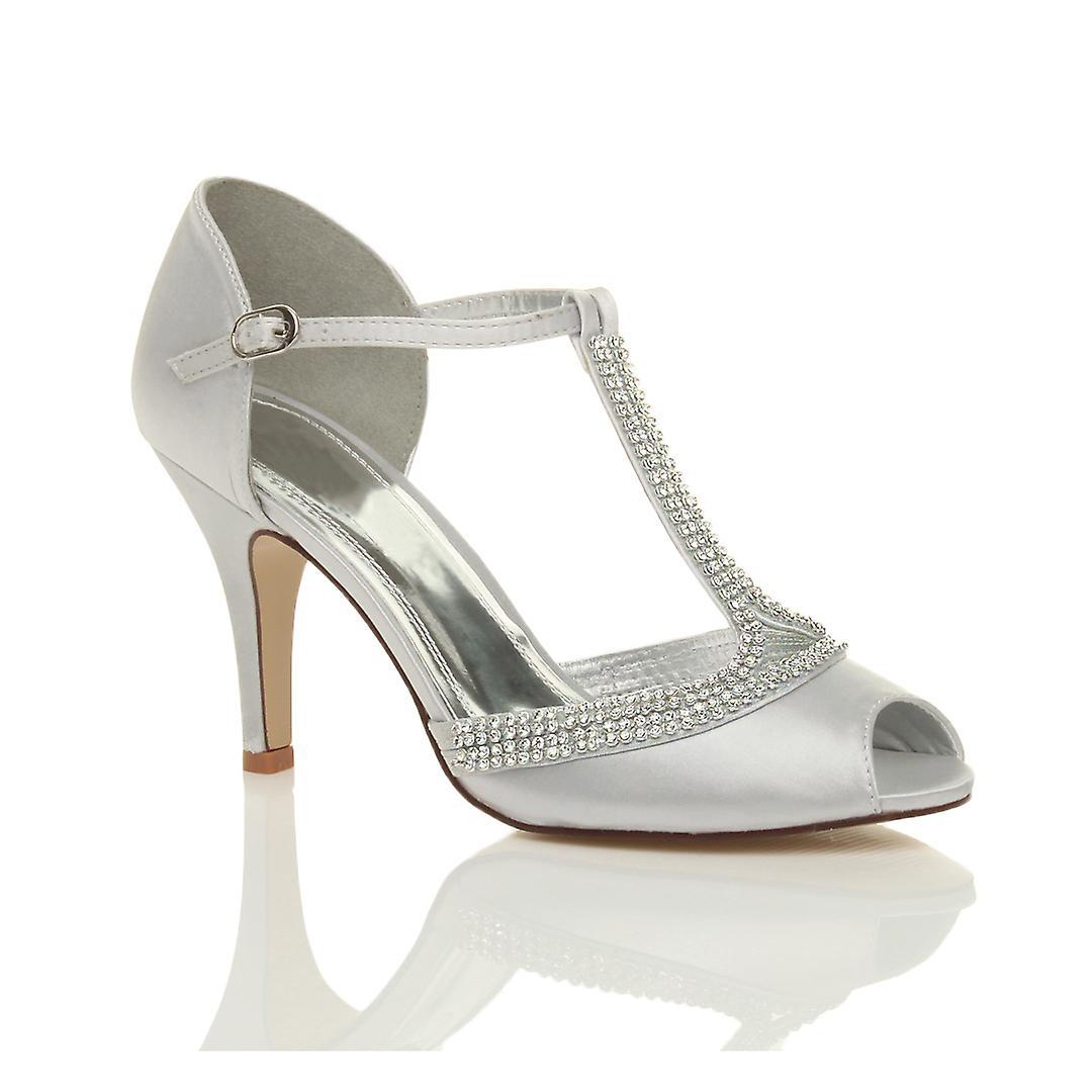 Ajvani damskie wysoki obcas peep toe diamante t-bar ślub ślubne wieczorowe buty sandały na studniówkę 9Mqfu