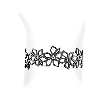 Black Silicone Flowers Bracelet Effect Tattoo 6848