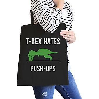 T-Rex Push Ups Black Canvas Tote Heavy Cotton Foldable Tote