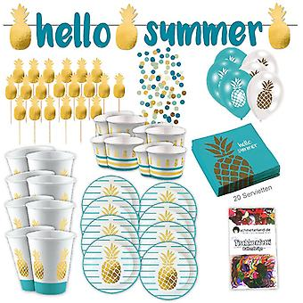Ananas Gold Tropical Party Partybox 73-teilig Ananasparty Partypaket