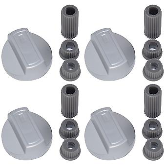 4 X Crosslee Universal Cooker/Oven/Grill Control Knob And Adaptors Silver