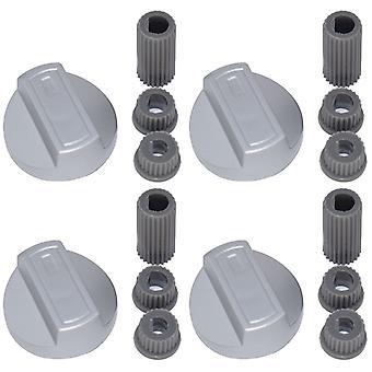 4 x Belling Universal liesi/uuni/Grilli säädintä ja adapterit hopea