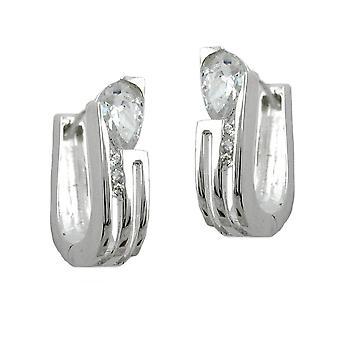 Elegante silberne Creole tropfenförmiger Zirkonia Kreole Klappscharnier Silber