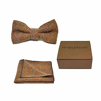 Heritage Check Cedar Brown Bow Tie & Pocket Square Set - Tweed, Plaid Country Look   Boxed
