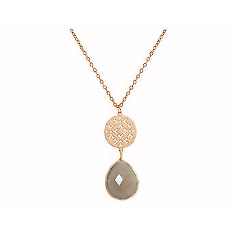GEMSHINE women's necklace mandala grey agate silver, gold plated or rose