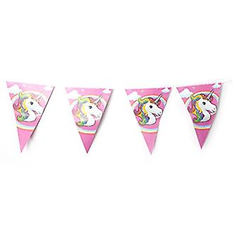 TRIXES 10PC Unicorn Triangular Flag Bunting Garland For Kids Birthday Parties