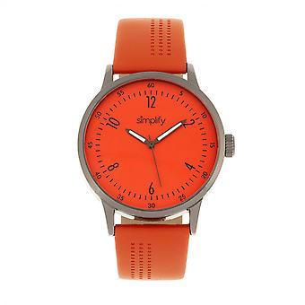 Simplify The 5700 Leather-Band Watch - Orange
