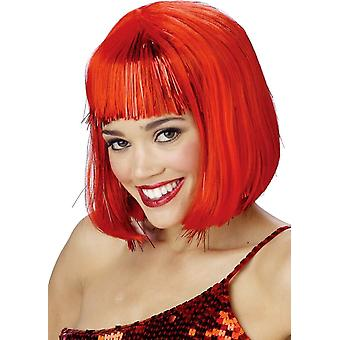 Red Shimmering Bob Wig For Women