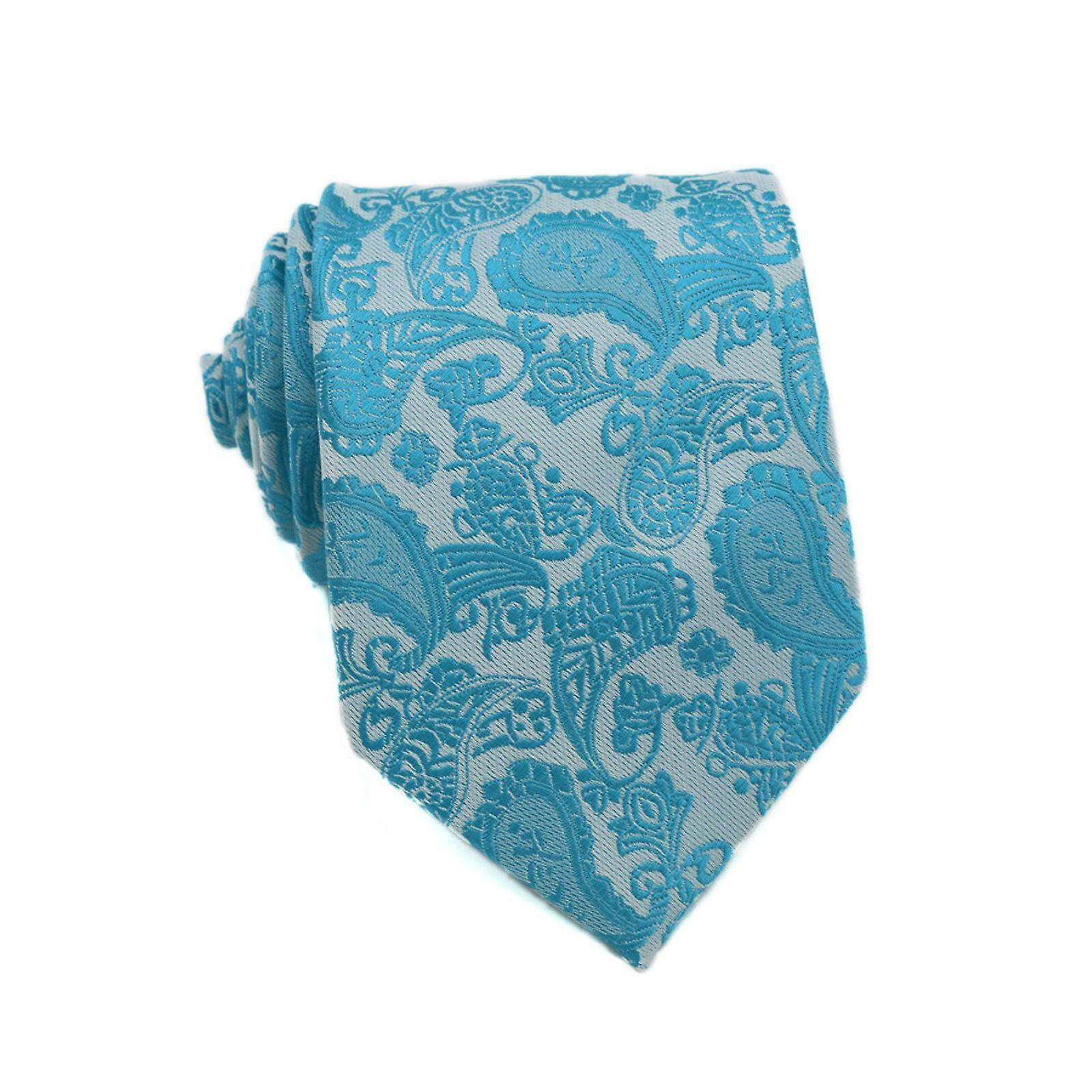 Teal & turquoise paisley event tie & pocket square set