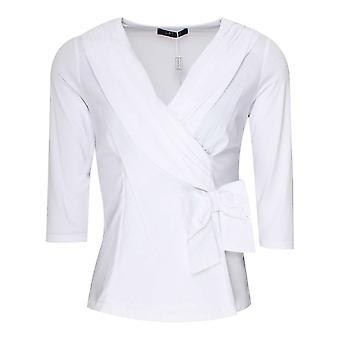 Latte White Long Sleeve Cross Over Detail Top