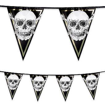 6 metri di plastica triangolare Bunting pirati teschio & Crossbone