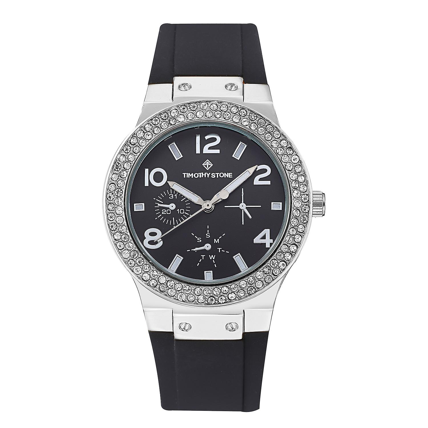 Timothy Stone Women's FA�ON-SILICONE Silver-Tone and Black Strap Watch
