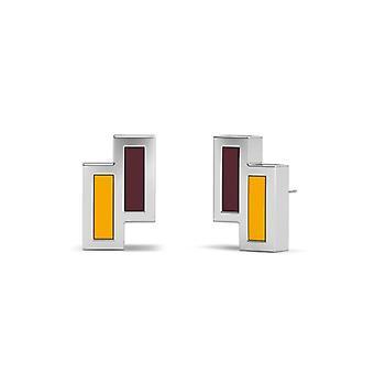 Loyola University Chicago Sterling Silver Asymmetric Enamel Stud Earrings In Maroon & Yellow
