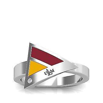 جامعة لويزيانا مونرو نقش الجنيه الاسترليني فضة الماس خاتم هندسي باللونين الأحمر والأصفر