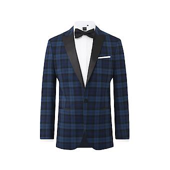 Dobell Mens Blue Tartan Kurtka Smoking Regular Fit Peak Lapel