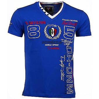 E T-shirt - Short Sleeves - Embroidery Automobile Club - Blue