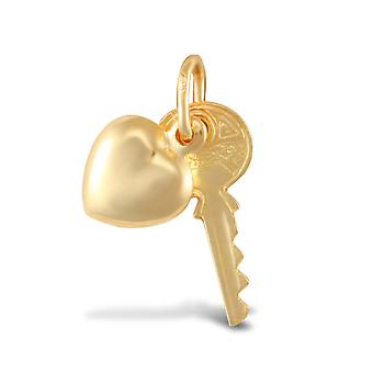 Jewelco London Ladies 9ct Yellow Gold Key Heart Charm Pendant