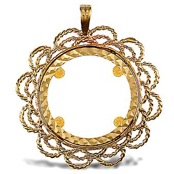 Jewelco London Solid 9ct Yellow Gold Rope Twist Loop Cadre Demi Sovereign Coin Mount Pendentif