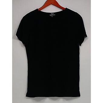 Dennis Basso Mujeres's Top Knit Camiseta De Manga Corta Esencial Negro A298246