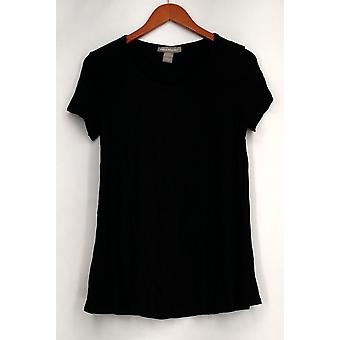 Kate & Mallory Top Short Sleeve Scoop Neck Open Back Black Womens A432243
