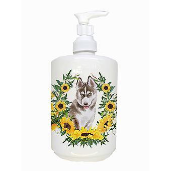 Carolines Treasures  CK2888SOAP Siberian Husky Grey Ceramic Soap Dispenser