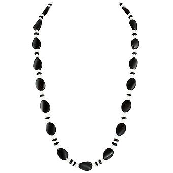 Eternal Collection Silhouette Black Agate And White Jade Semi Precious Beaded Long Necklace
