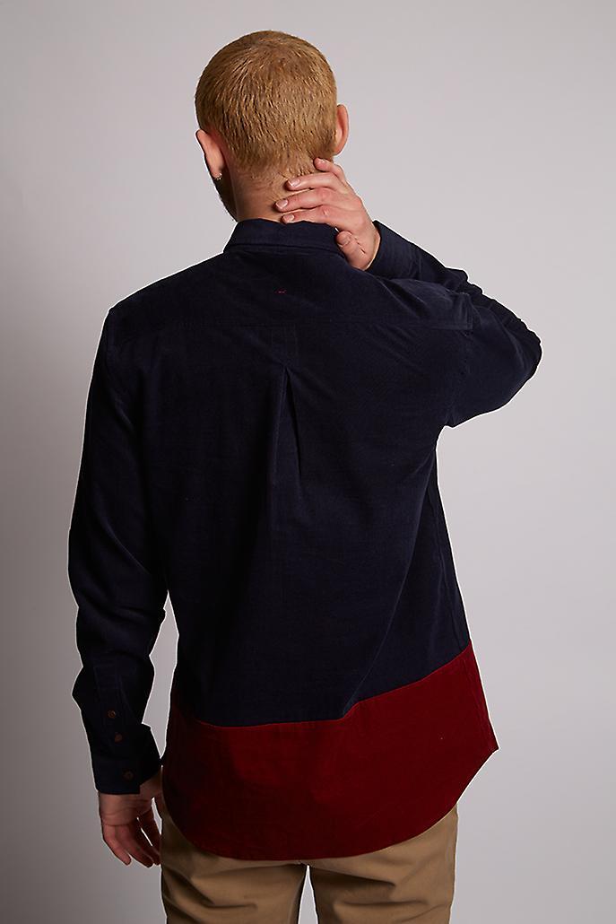 Hymn Aspen Navy Cord Colourblock Shirt