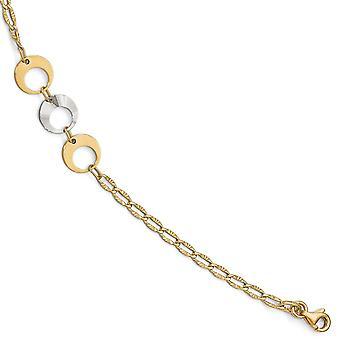 14k Dois tons de lagosta chique fechamento ouro polido com 1inch ramal. tornozeleira 10 polegadas de joias presentes para mulheres