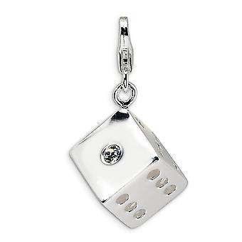 925 plata esterlina Rhodium plateado langosta de lujo cierre 3 D cristal morir con cierre de langosta encanto colgante collar Measu