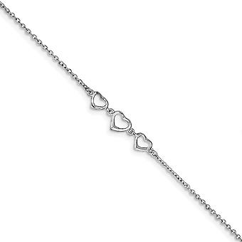 925 Sterling Silver Spring Ring Rhodium plated 10 +1 In Ext Three Love Hearts Anklet Jewelry Gifts for Women