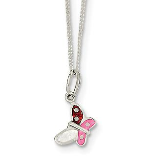 925 Sterling Silver Enamel Polished Spring Ring Butterfly Angel Wings Necklace 14 Inch - 1.7 Grams