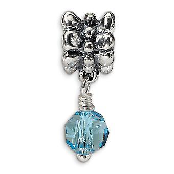 925 sterling sølv poleret antikke finish refleksioner SimStars blå Dangle perle charme