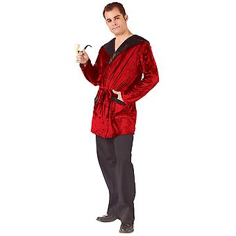 Casanova Smoking Jacket Playboy Hugh Hefner Red Robe Adult Mens Costume OS