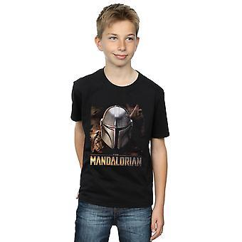 Star Wars drenge den Mandalorianske hjelm T-shirt