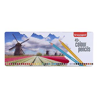 Bruynzeel 45 Colour Pencil Set with Windmill Design Tin