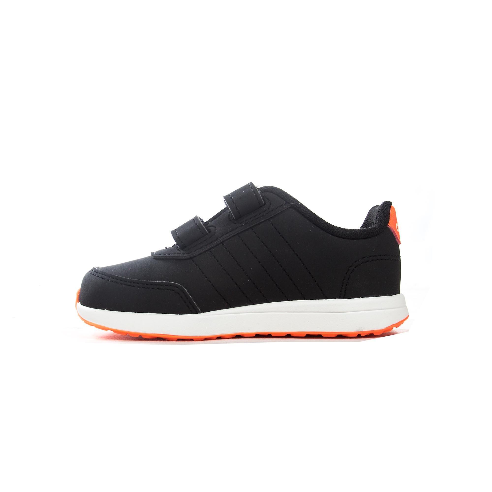 adidas VS Switch 2 Infant Kids Sports Trainer Shoe Black/Orange